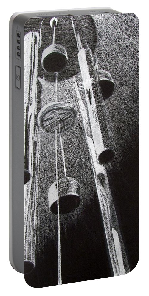 #windchimes#blackandwhite#b&w#drawing Portable Battery Charger featuring the drawing White Noise by Kayla Kuhns