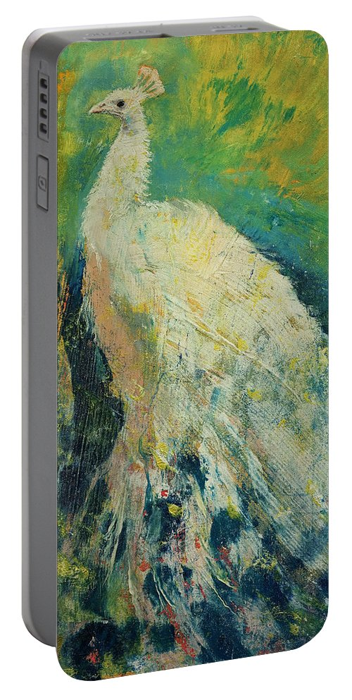 Abstract Portable Battery Charger featuring the painting White Peacock by Michael Creese