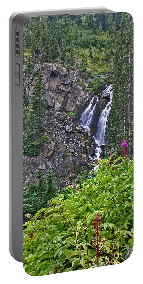 Wildflowers Portable Battery Charger featuring the photograph White Pearl Waterfall Vert by Jeremy Rhoades