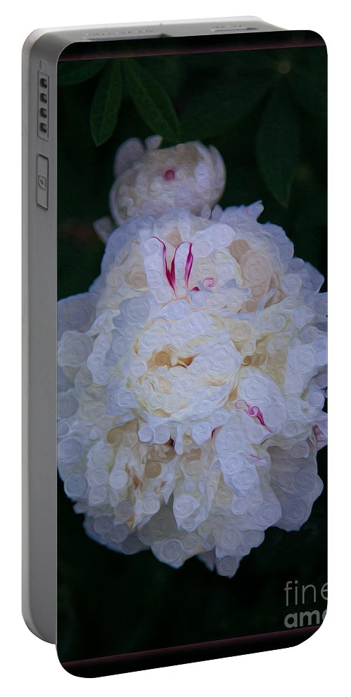 5x7 Portable Battery Charger featuring the painting White Peony And Companion Abstract Flower Painting by Omaste Witkowski
