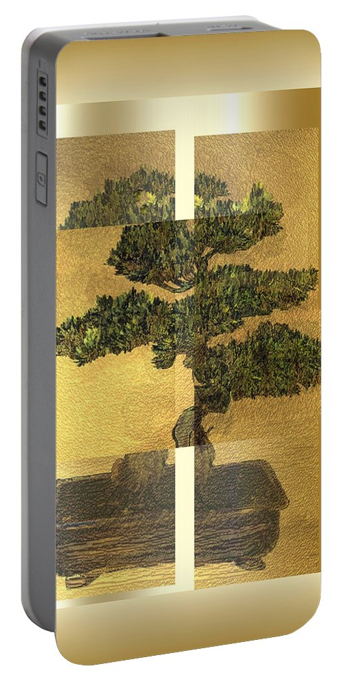 Bonsai Portable Battery Charger featuring the digital art White Pine Bonsai by Patricia Keith