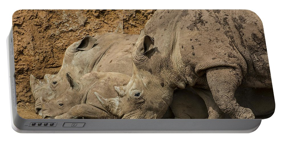 White Rhino Portable Battery Charger featuring the photograph White Rhino 2 by Arterra Picture Library