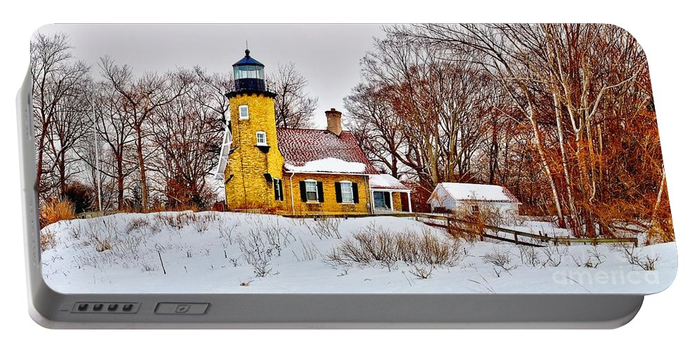 Panoramic Portable Battery Charger featuring the photograph White River Winter Panoramic by Nick Zelinsky