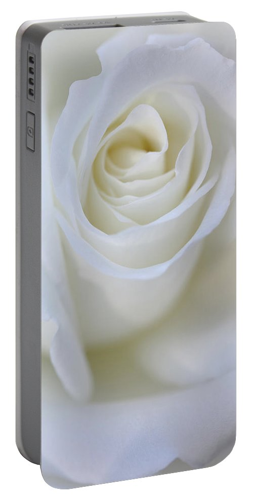 Rose Portable Battery Charger featuring the photograph White Rose Floral Whispers by Jennie Marie Schell