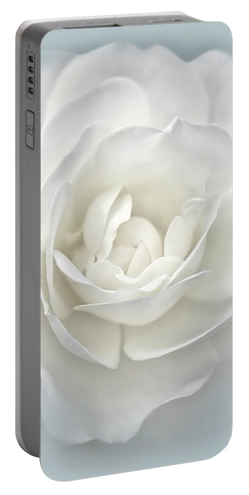 Rose Portable Battery Charger featuring the photograph White Rose Flower Silver Blue by Jennie Marie Schell