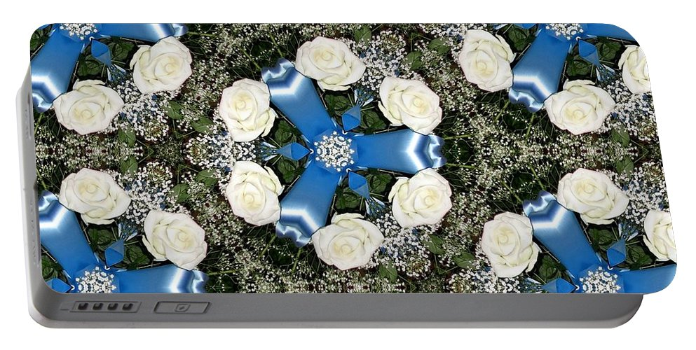 White Roses Portable Battery Charger featuring the photograph White Roses And Babys Breath Kaleidoscope by Rose Santuci-Sofranko