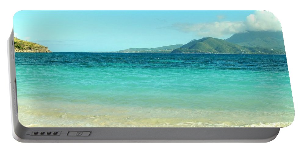 St Kitts Portable Battery Charger featuring the photograph White Sand Blue Sky Blue Water by Ian MacDonald