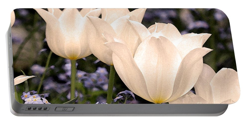 Tulips Portable Battery Charger featuring the digital art White Tulip by Paul Gentille