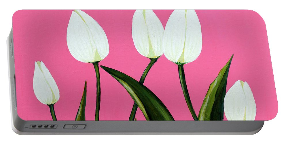 Barbara Griffin Portable Battery Charger featuring the painting White Tulips On Pink by Barbara Griffin