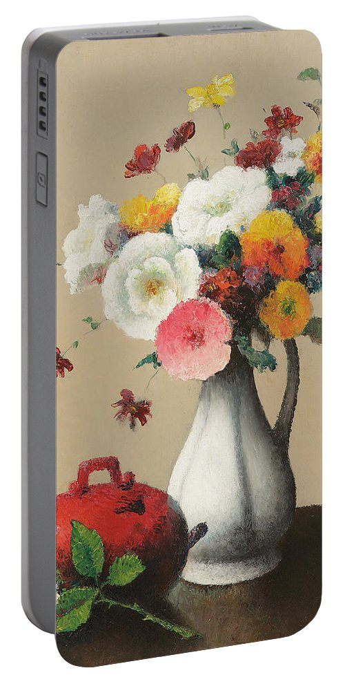 White Portable Battery Charger featuring the painting White Vase And Red Box by Felix Elie Tobeen