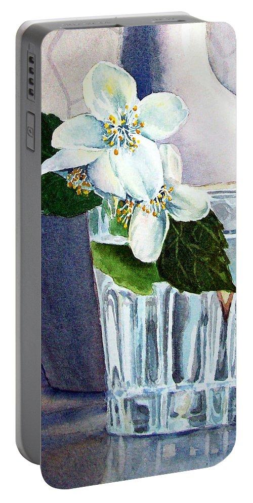 White Portable Battery Charger featuring the painting White White Jasmine by Irina Sztukowski