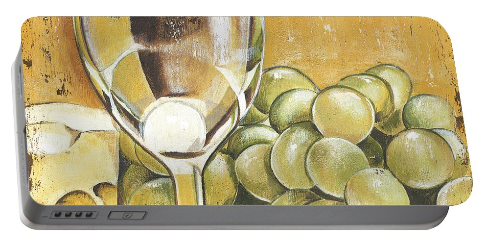 White Wine Portable Battery Charger featuring the painting White Wine And Cheese by Debbie DeWitt