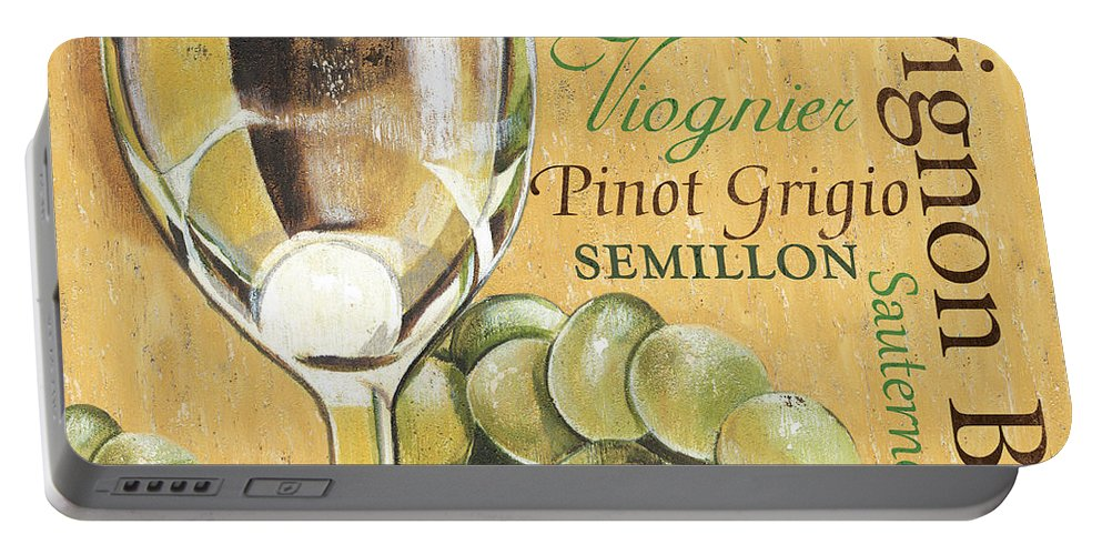 Wine Portable Battery Charger featuring the painting White Wine Text by Debbie DeWitt