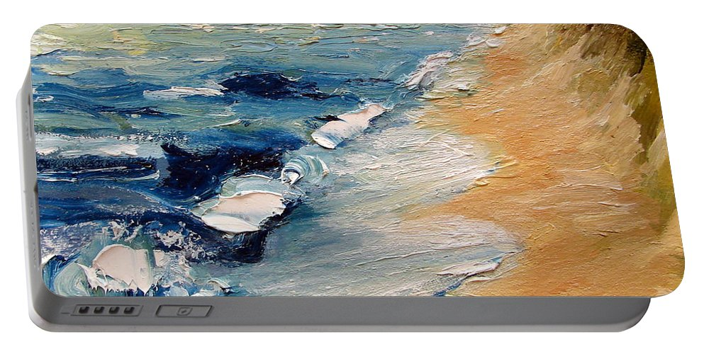 Whitecaps Portable Battery Charger featuring the painting Whitecaps On Lake Michigan 3.0 by Michelle Calkins
