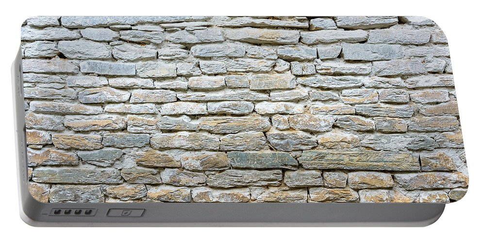 Stone Portable Battery Charger featuring the photograph Whitewash Old Stone Wall by Dutourdumonde Photography