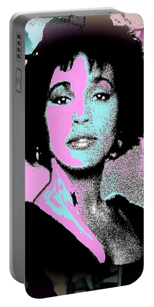 Whitney Houston Portable Battery Charger featuring the painting Whitney Houston Sing For Me Again by Saundra Myles