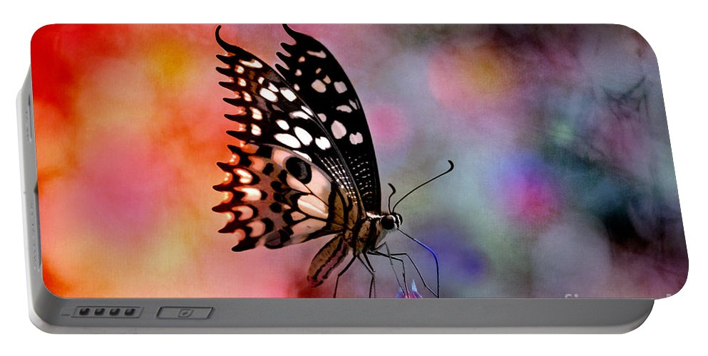Butterfly Portable Battery Charger featuring the digital art Who Dosen't Deam In Color? by Nola Lee Kelsey