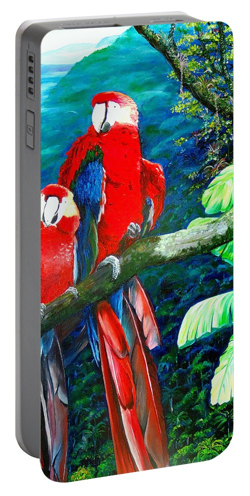 Caribbean Painting Green Wing Macaws Red Mountains Birds Trinidad And Tobago Birds Parrots Macaw Paintings Greeting Card  Portable Battery Charger featuring the painting Who Me  by Karin Dawn Kelshall- Best