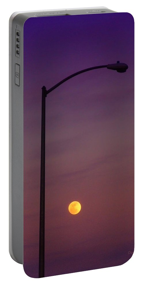 Moon Portable Battery Charger featuring the photograph Who Needs A Lamp Post by Donna Blackhall