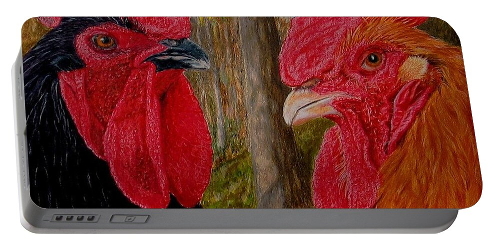 Roosters Portable Battery Charger featuring the painting Who You Calling Chicken by Karen Ilari