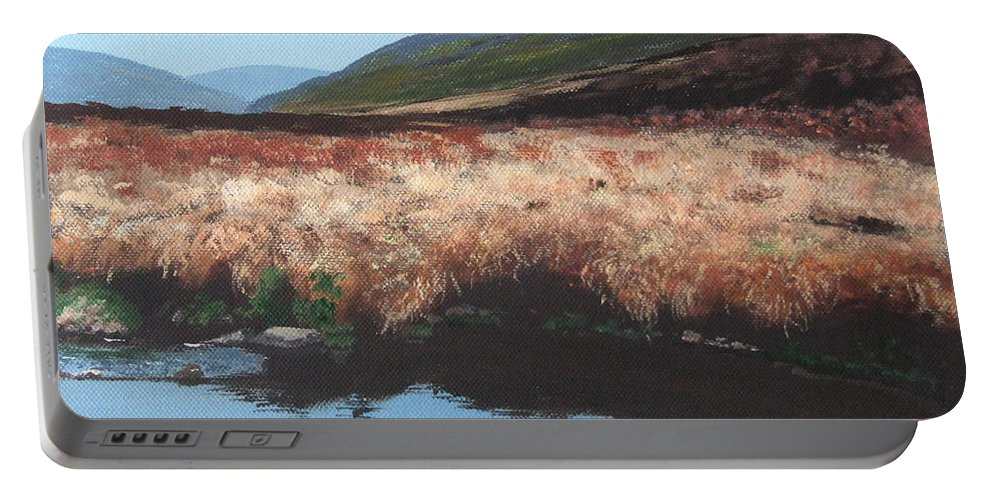 Irish Portable Battery Charger featuring the painting Wicklow Bogscape by Tony Gunning