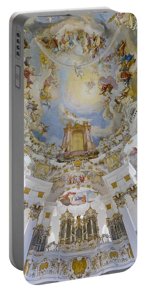 Organ And Ceiling Portable Battery Charger featuring the photograph Wieskirche Organ And Ceiling by Jenny Setchell