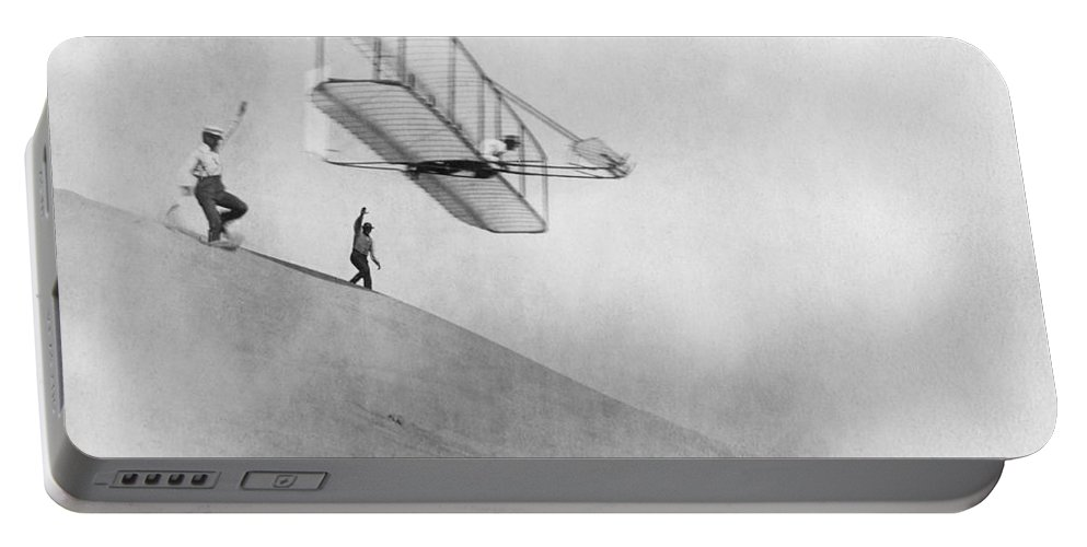History Portable Battery Charger featuring the photograph Wilbur Wright Pilots Early Glider 1901 by Science Source