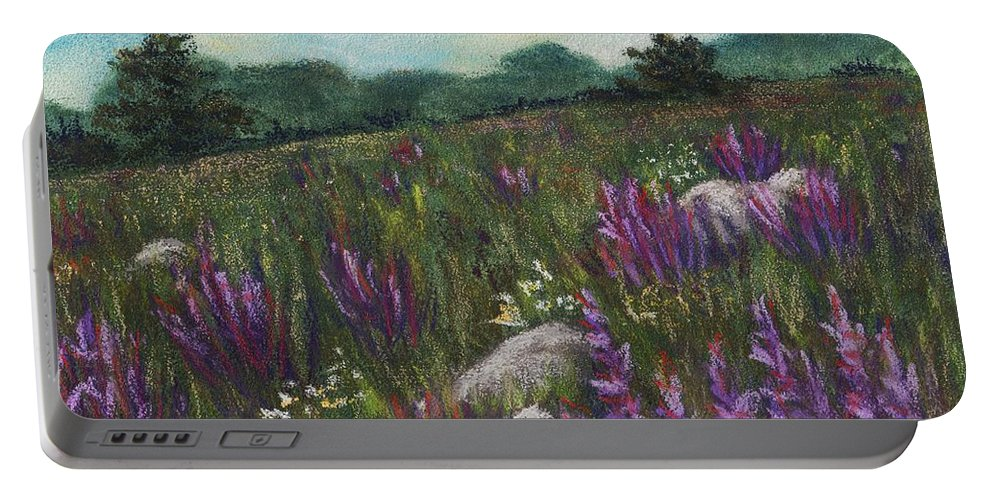 Calm Portable Battery Charger featuring the painting Wild Flower Field by Anastasiya Malakhova