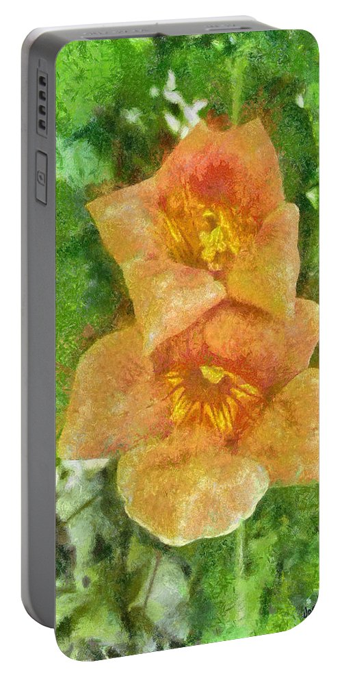 Bloom Portable Battery Charger featuring the painting Wild Flowers by Jeffrey Kolker