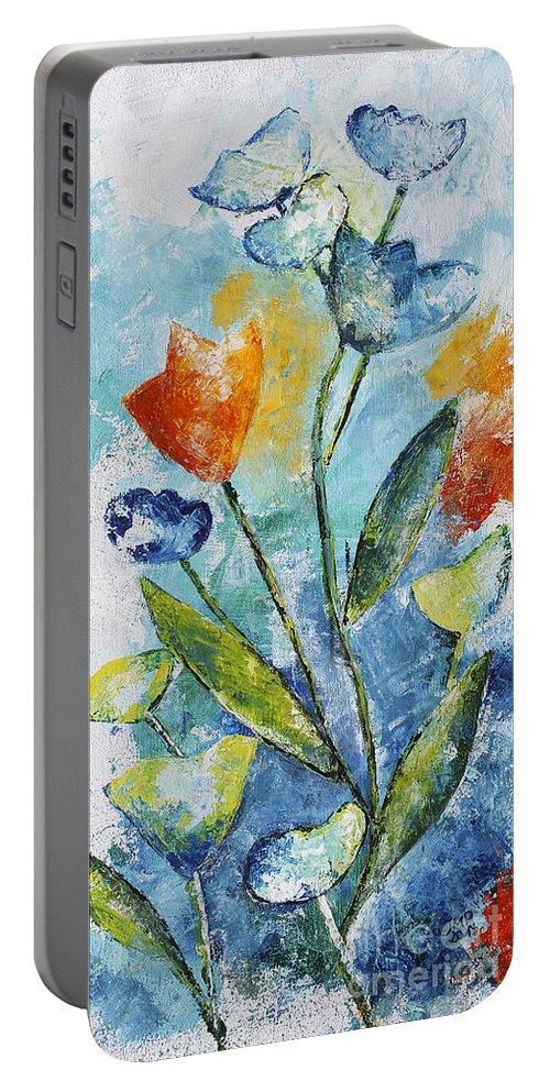 Acrylic Portable Battery Charger featuring the painting Wild Flowers by Jutta Maria Pusl