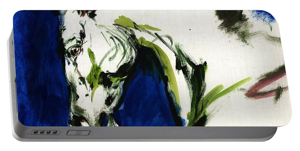Horse Artwork Portable Battery Charger featuring the painting Wild Horse by Angel Ciesniarska