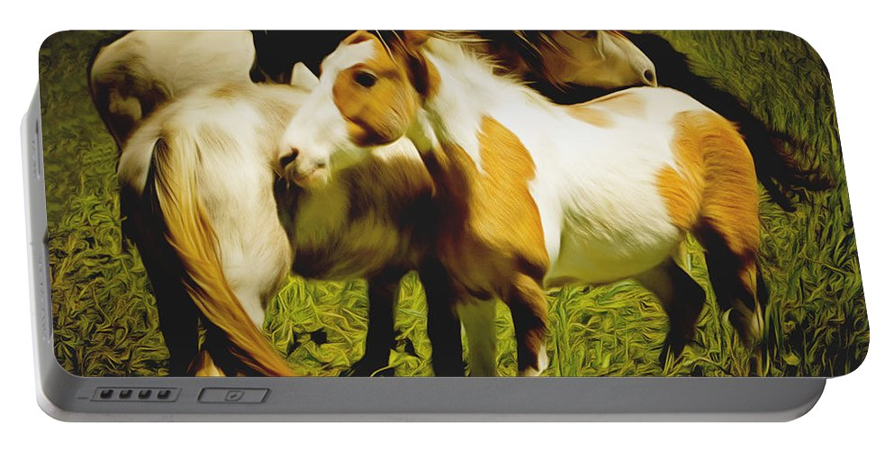 Barbara Snyder Portable Battery Charger featuring the painting Wild Horses In California Series 14 by Barbara Snyder