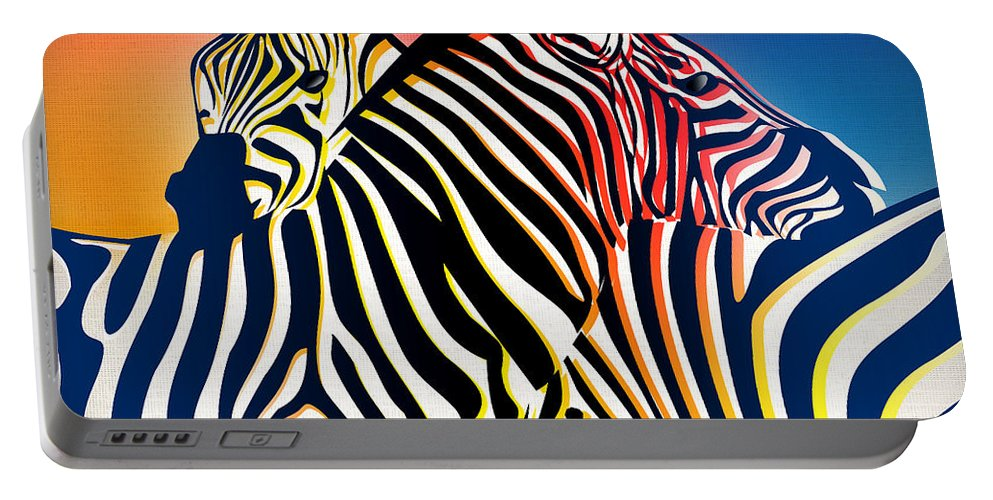 Zebra Portable Battery Charger featuring the painting Wild Life 2 by Mark Ashkenazi
