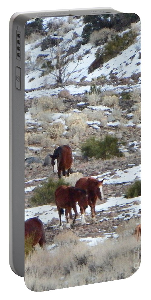 Acrylic Prints Portable Battery Charger featuring the photograph Wild Nevada Mustangs 2 by Bobbee Rickard