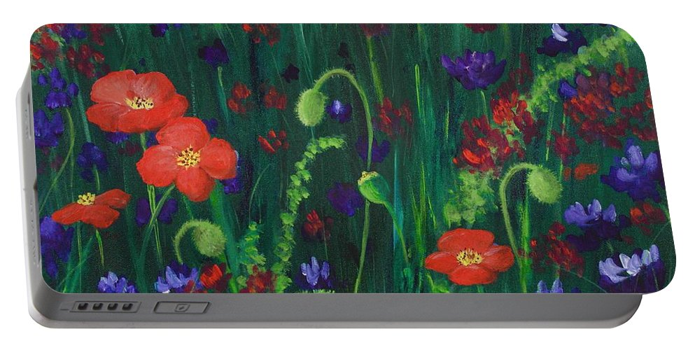 Wildflowers Portable Battery Charger featuring the painting Wild Poppies by Anastasiya Malakhova