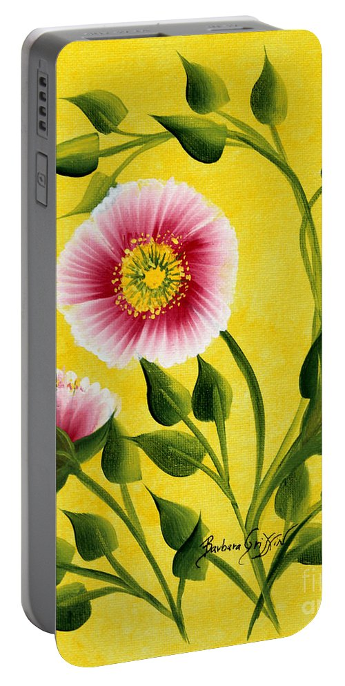 Barbara Griffin Portable Battery Charger featuring the painting Wild Roses On Yellow by Barbara Griffin