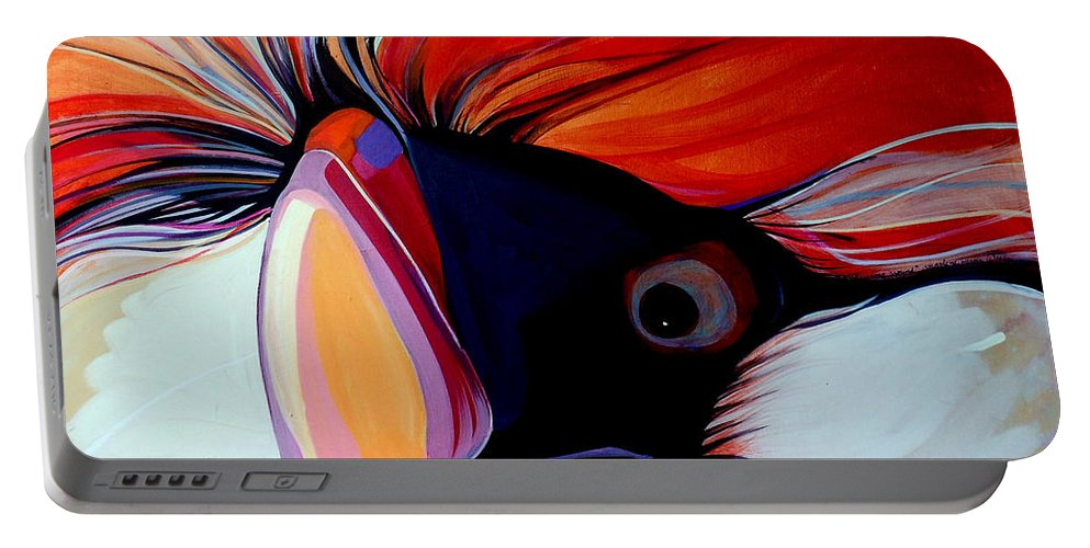 Bird Portable Battery Charger featuring the painting Wild Thang by Marlene Burns