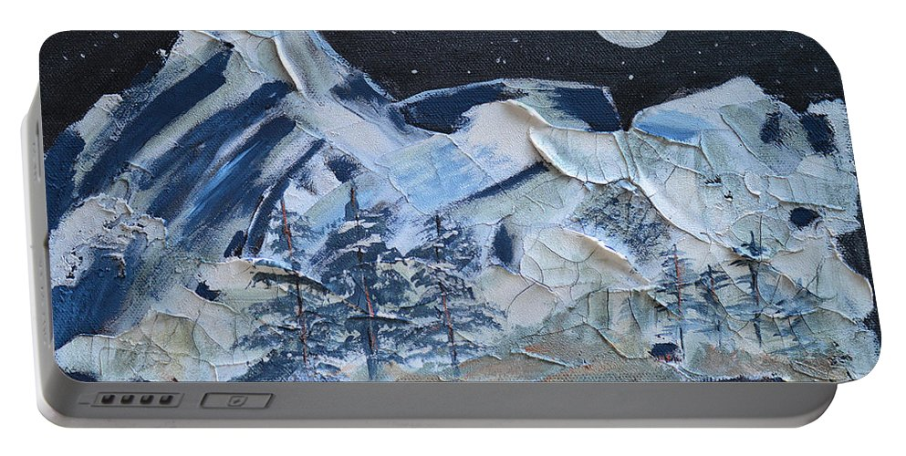 Mountain Portable Battery Charger featuring the painting Wilderness Sky by Donna Blackhall