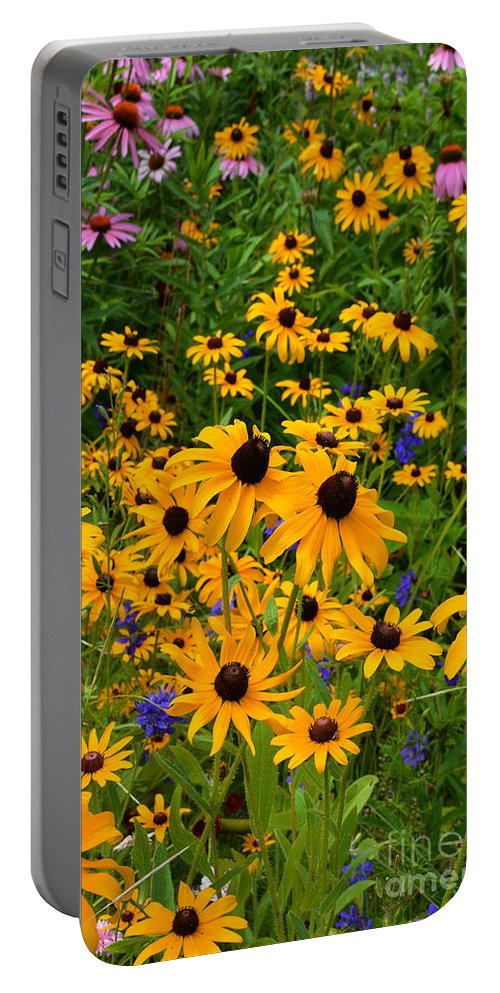 Wildflowers Portable Battery Charger featuring the photograph Wildflower Gold by Regina Geoghan