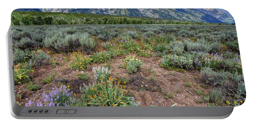 Grand Teton Portable Battery Charger featuring the photograph Wildflowers Bloom Below Teton Mountain Range by Gary Whitton