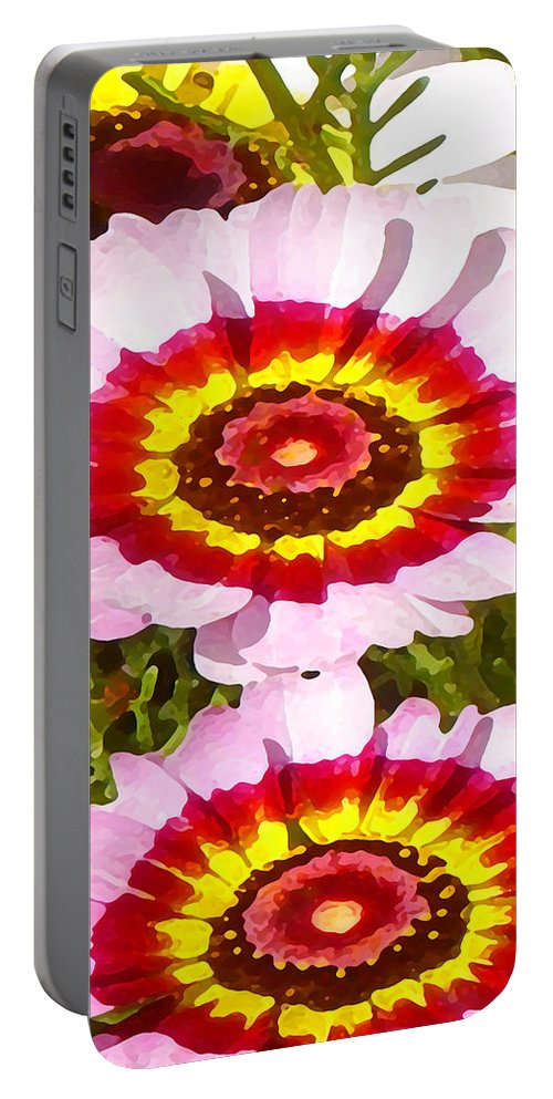 Wildflower Portable Battery Charger featuring the painting Wildflowers Tall by Amy Vangsgard