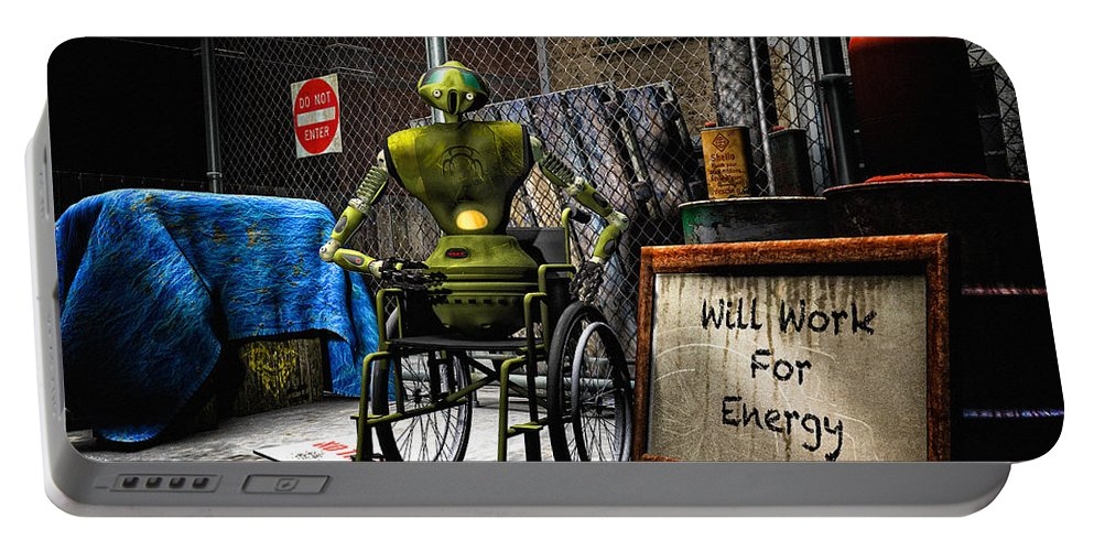 Android Portable Battery Charger featuring the digital art Will Work For Energy by Bob Orsillo
