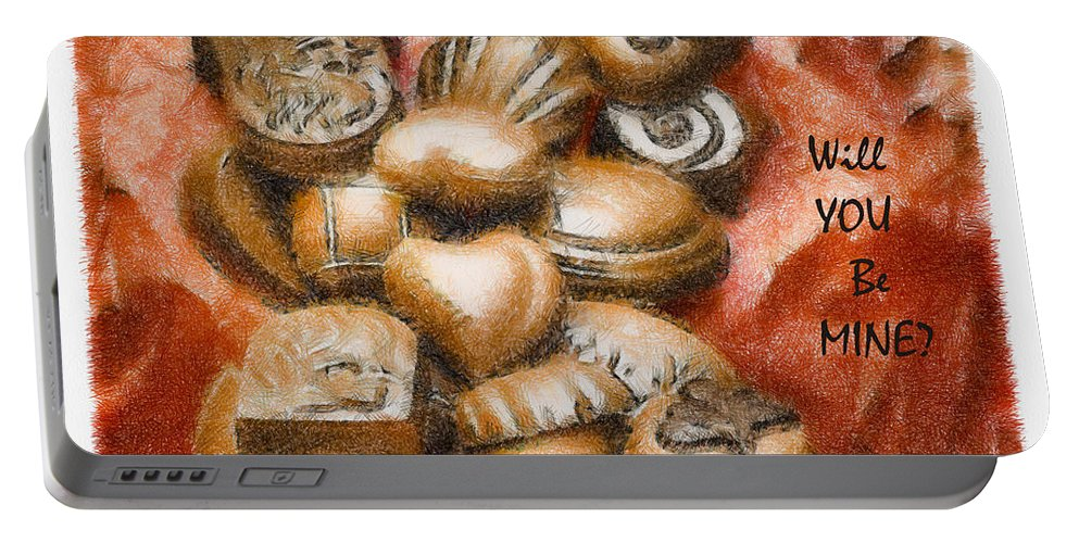 Candy Portable Battery Charger featuring the mixed media Will You Be Mine by Trish Tritz