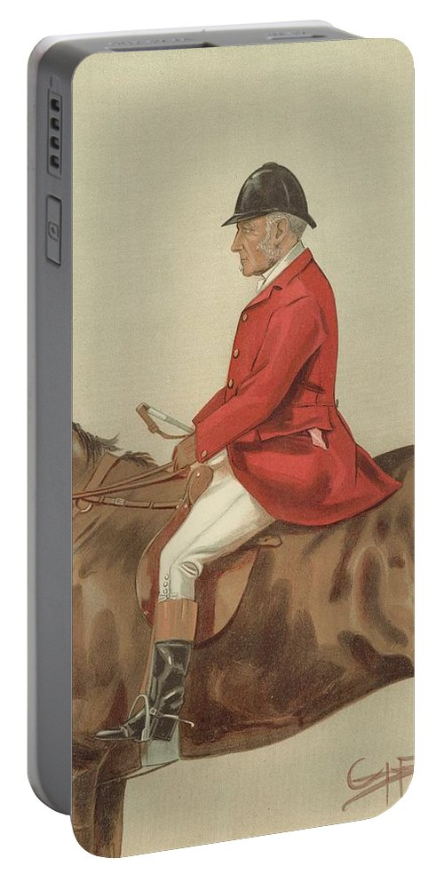 Caricature; William Ward Tailby; Leicestershire Man; 6 April 1899; Vanity Fair; Cartoon; Horse; Hunt; Hunting Portable Battery Charger featuring the painting William Ward Tailby by Sir Samuel Luke Fildes