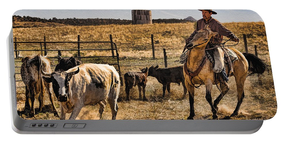 williamson Valley Roundup 8 Portable Battery Charger featuring the photograph Williamson Valley Roundup 8 by Priscilla Burgers