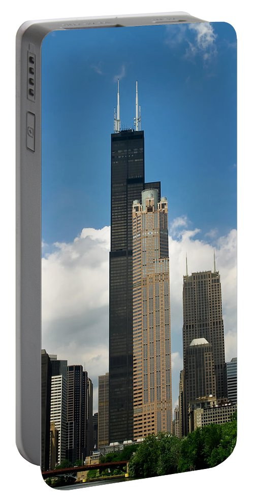3scape Portable Battery Charger featuring the photograph Willis Tower Aka Sears Tower by Adam Romanowicz