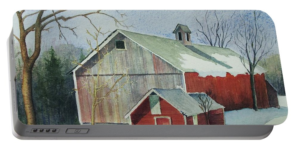 New England Portable Battery Charger featuring the painting Williston Barn by Mary Ellen Mueller Legault