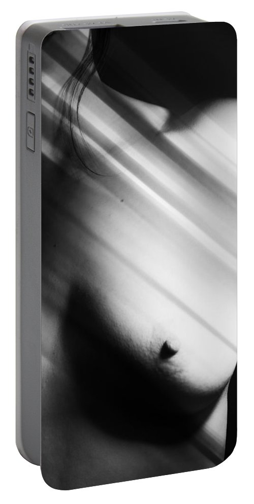 Abstract Portable Battery Charger featuring the photograph Wind Ice Light by The Artist Project