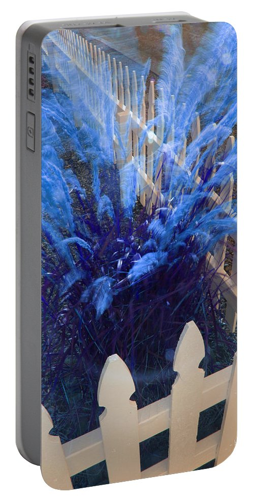 Slow Shutter Portable Battery Charger featuring the photograph Wind In The Grass - Blue by Mick Anderson