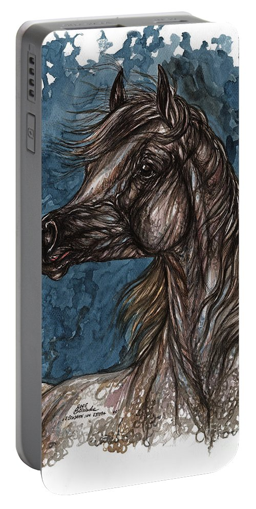 Blue Portable Battery Charger featuring the painting Wind In The Mane by Angel Ciesniarska
